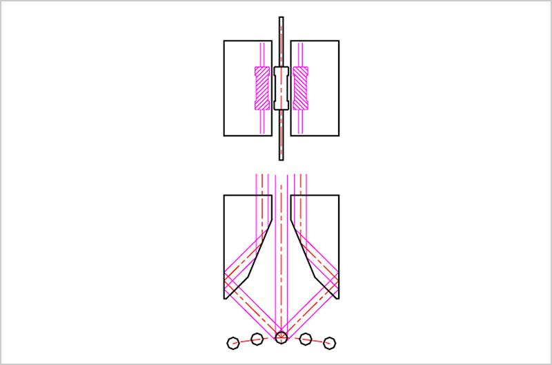 45度3面同時(45度2回反射クロビット)